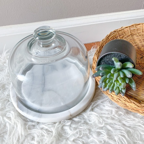 Vintage Marble Cheese or Dessert Tray w Glass Dome
